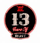 Distressed Aged 13 Years Of Rust Motif For Retro Rat Look VW etc. External Vinyl Car Sticker 100x90mm